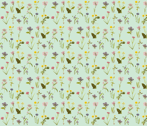 Antique Wildflowers, Bright Duckegg Green fabric by thistleandfox on Spoonflower - custom fabric