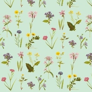 Antique Wildflowers, Bright Duckegg Green