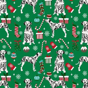 Dalmatian christmas fabric dog breeds candy canes xmas presents green