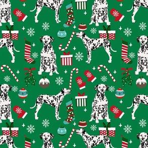 Dalmatian christmas fabric dog breeds candy canes xmas presents green