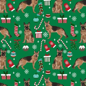 German Shepherd christmas fabric dog breeds candy canes xmas presents green