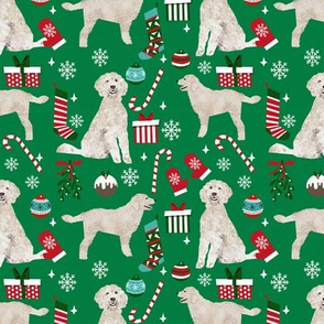 Golden Doodle christmas fabric dog breeds candy canes xmas presents green