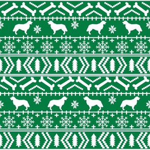 Golden Retriever fair isle christmas dog silhouette fabric green