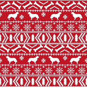 Golden Retriever fair isle christmas dog silhouette fabric red