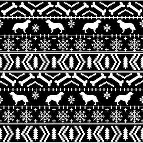 Golden Retriever fair isle christmas dog silhouette fabric black and white