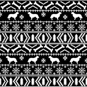 Golden Retriever fair isle christmas dog silhouette fabric black and white