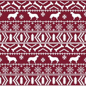 Golden Retriever fair isle christmas dog silhouette fabric ruby