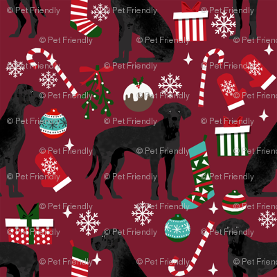 Great Dane black coat christmas presents stockings candy canes winter dog fabric ruby