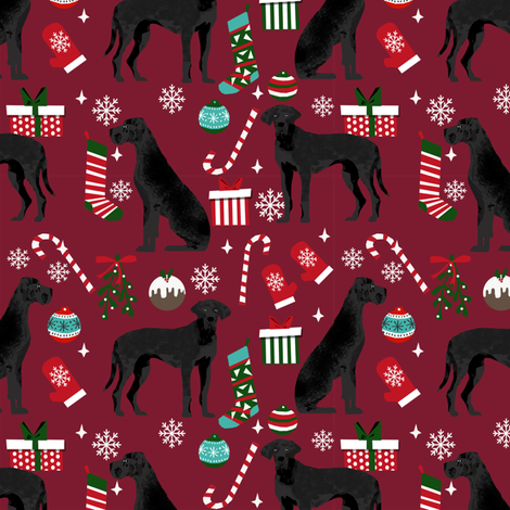 Great Dane black coat christmas presents stockings candy canes winter dog fabric ruby fabric by petfriendly on Spoonflower - custom fabric