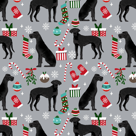 Great Dane black coat christmas presents stockings candy canes winter dog fabric grey fabric by petfriendly on Spoonflower - custom fabric