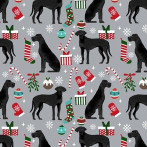 Great Dane black coat christmas presents stockings candy canes winter dog fabric grey