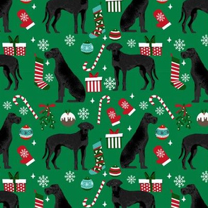 Great Dane black coat christmas presents stockings candy canes winter dog fabric green