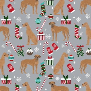 Great Dane tan coat christmas presents stockings candy canes winter dog fabric grey