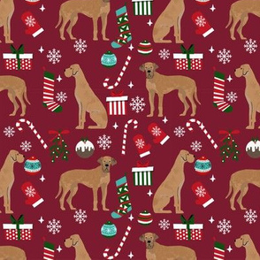 Great Dane tan coat christmas presents stockings candy canes winter dog fabric ruby
