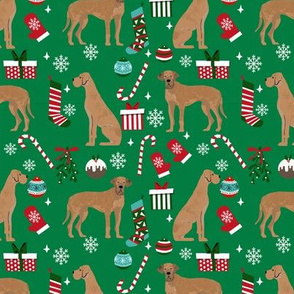 Great Dane tan coat christmas presents stockings candy canes winter dog fabric green