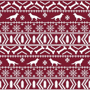 German Shepherd fair isle christmas fabric dog silhouette ruby