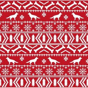 German Shepherd fair isle christmas fabric dog silhouette red