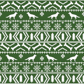 German Shepherd fair isle christmas fabric dog silhouette med green