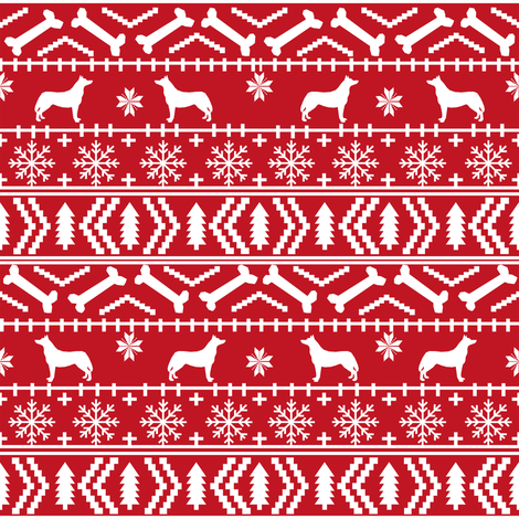 Husky fair isle christmas fabric dog silhouette red fabric by petfriendly on Spoonflower - custom fabric