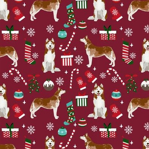 Husky red coat christmas presents candy canes stockings holiday dog fabric ruby