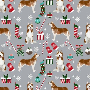 Husky red coat christmas presents candy canes stockings holiday dog fabric grey