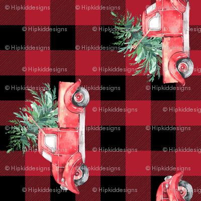 """Rotated // 2"""" Christmas Vintage Trucks // Red Buffalo Check"""
