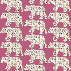 """6"""" Floral Bear Silhouettes on Purple"""