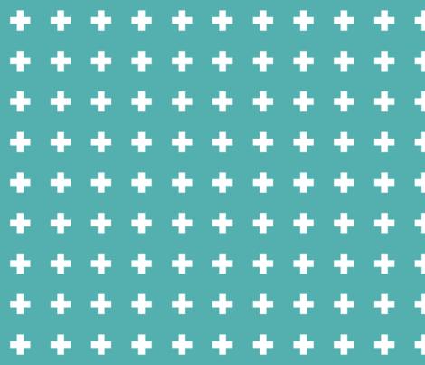 blue turquoise cross + fabric by misstiina on Spoonflower - custom fabric