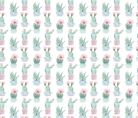 Cute Potted Succulents fabric by hipkiddesigns on Spoonflower - custom fabric