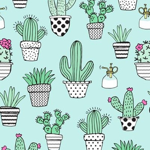 Potted Cacti // Mint Blue