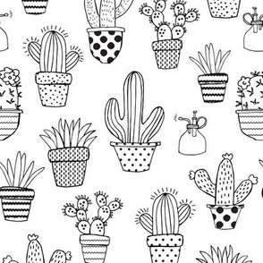 Potted Cacti // PaintYourOwn // Black & White