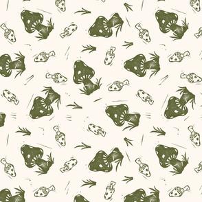 Mushroom and Grass Botanical Block Print