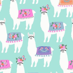 Miss Llamas //  Mint Blue