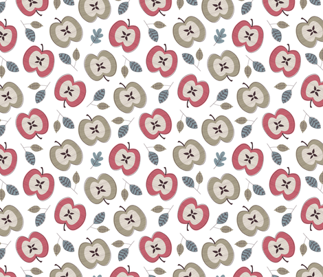 Apples Fall On White fabric by ximena_designs on Spoonflower - custom fabric