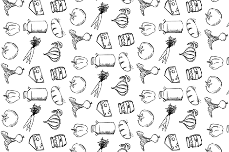Farmer's Market Black and White fabric by spottedfox on Spoonflower - custom fabric