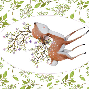 "56""x36"" Floral Fawn / Lilac Border around Leaves"