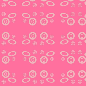 Oval  Pink and Cream geometric