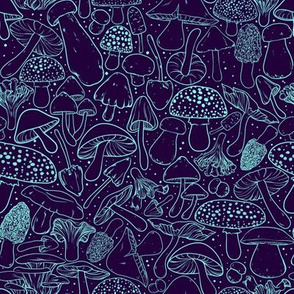 All The Mushrooms on Blue 1/2 Size