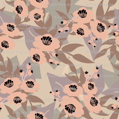 Rose flowers with purple leaves on grey background