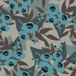 Blue flowers with grey leaves on blue background