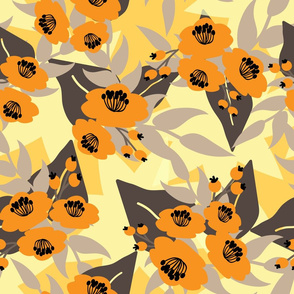 Orange flowers with grey leaves on yellow background