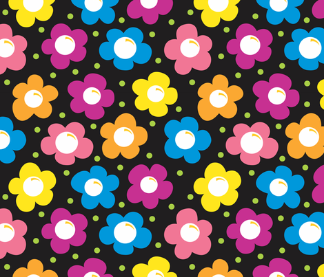 Daisy Chains BLACK large fabric by jewelraider on Spoonflower - custom fabric