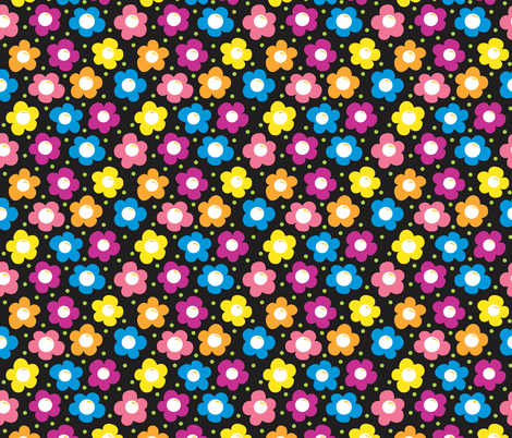 Daisy Chains BLACK small fabric by jewelraider on Spoonflower - custom fabric