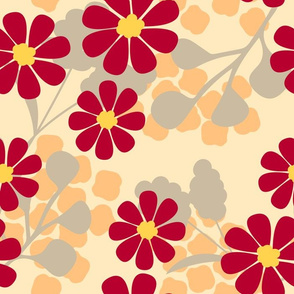 Red daisies on a light background