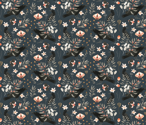 Black Crows and Butterflies fabric by katherine_quinn on Spoonflower - custom fabric