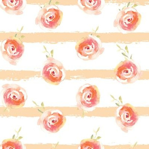 Simple Watercolor Roses with Peach Lines