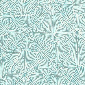 jumbo petoskey-stone pattern,  light turquoise  on off-white