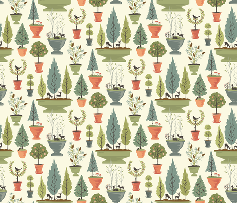 Topiary Scenes: Morning fabric by sheri_mcculley on Spoonflower - custom fabric
