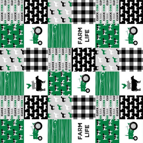 "(3"" small scale) farm life - wholecloth green and black - woodgrain (90)"