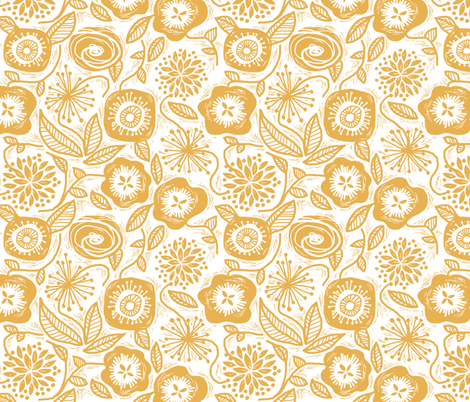 Linocut Leaves and Petals - Gold fabric by run_quiltgirl_run on Spoonflower - custom fabric
